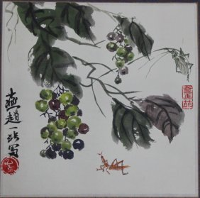 Chinese Pen & Ink Grapes Color Scroll Painting