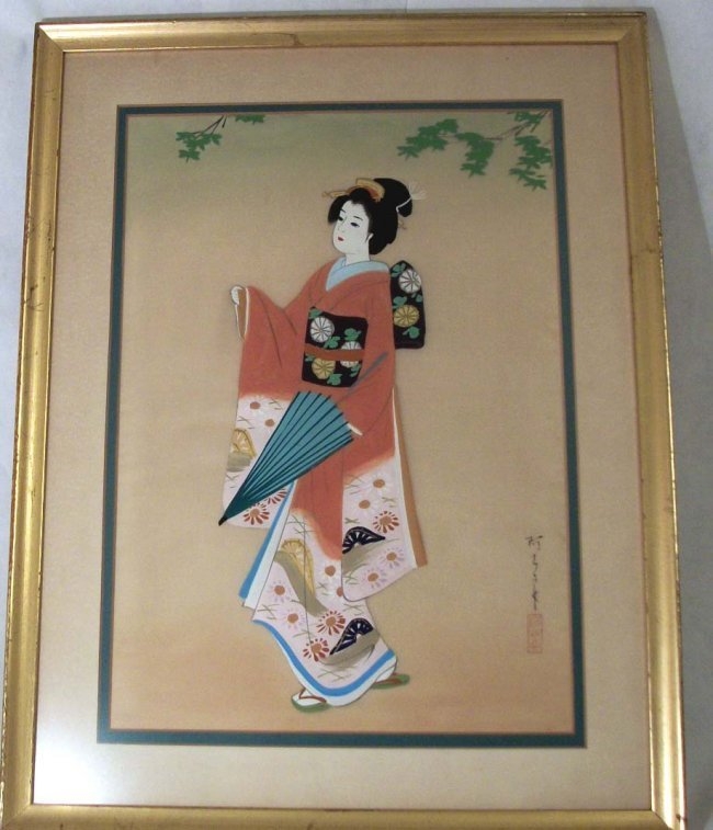 Watercolor Painting of Beautiful Japanese Geisha - 2