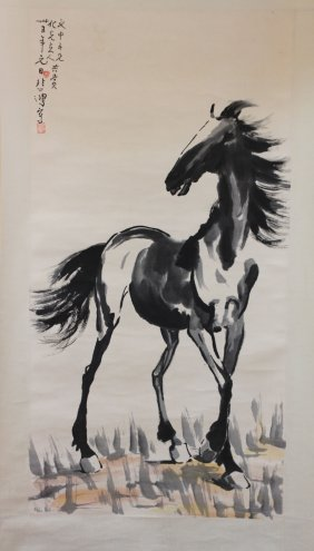 Chinese Pen & Ink Scroll Painting Stallion