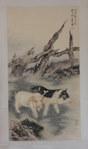 Chinese Pen & Ink Scroll Painting Pigs In Pen