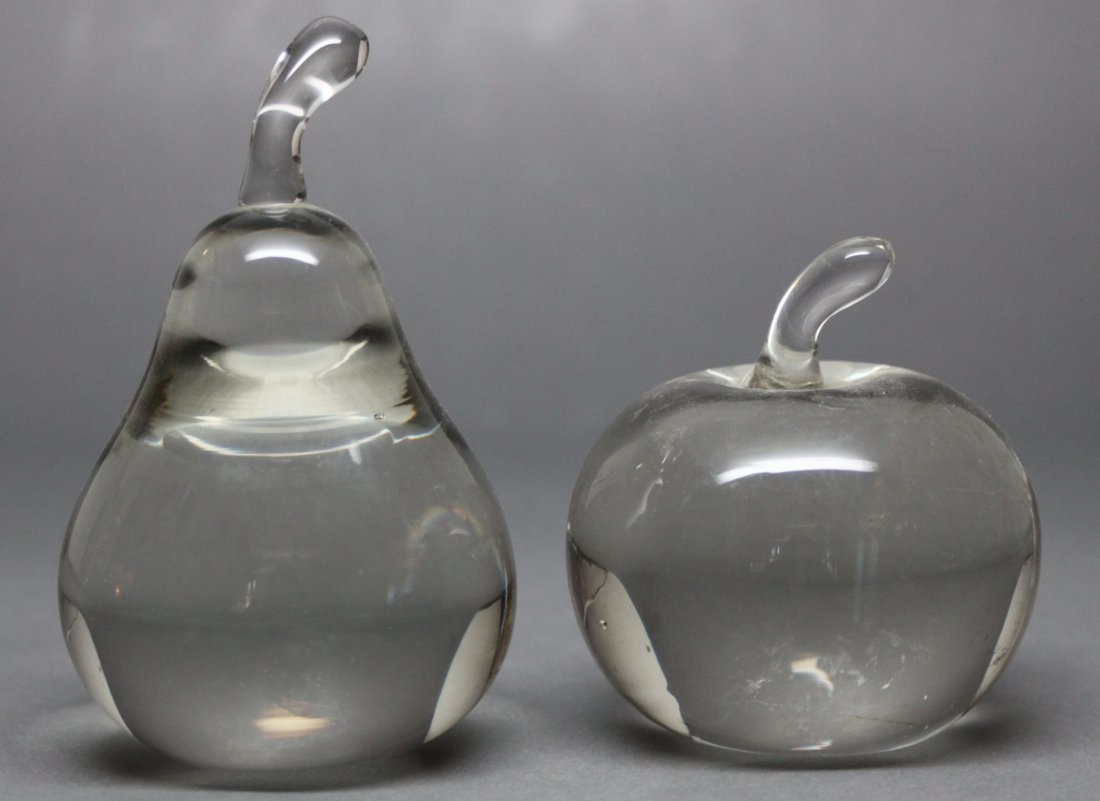 Pair of Crystal Sculptures Fruit Apple and Pear