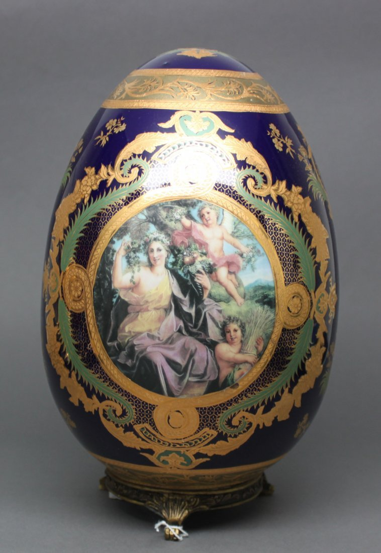 Victorian Egg Navy Blue and Gold with Cupids
