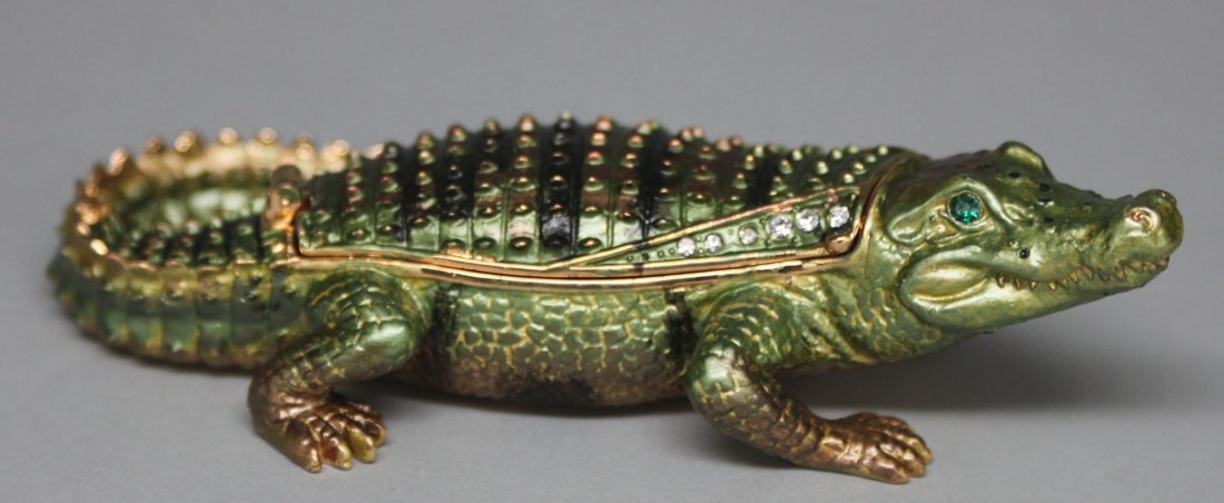 Enameled Crocodile Hinged Lid Box Inset Gems
