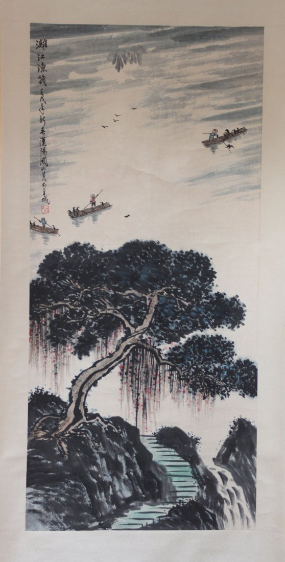 Chinese Pen & Ink Scroll Painting Tree Over Lake & Boat