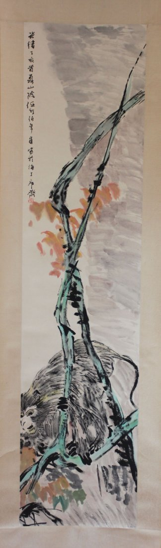 Chinese Pen & Ink Scroll Painting Monkey In Tree