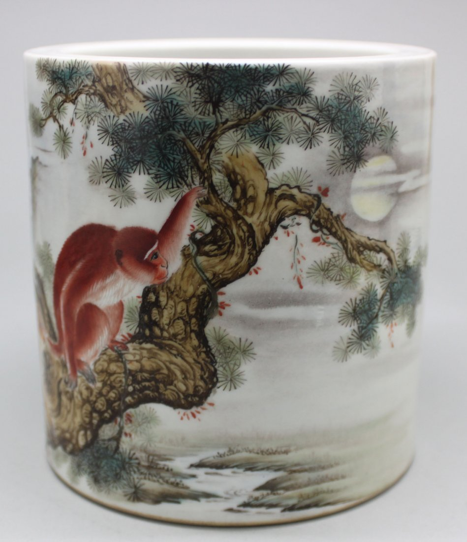 Chinese Porcelain White Brush Pot Red Monkey in Tree