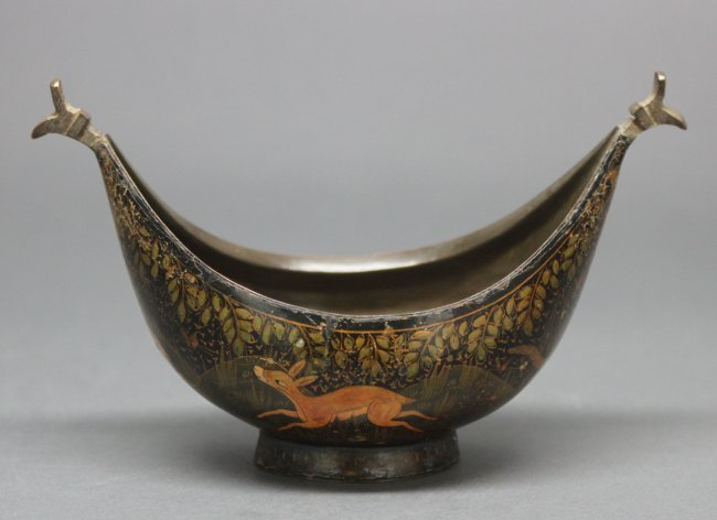 Indian Old Bronze Bowl Decorated Deer in a Forest