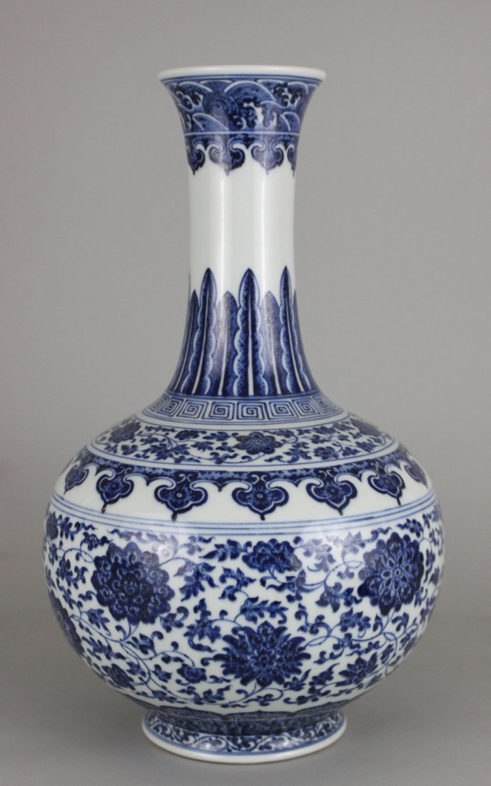 Chinese Porcelain Blue & White Long Neck Bottle Vase
