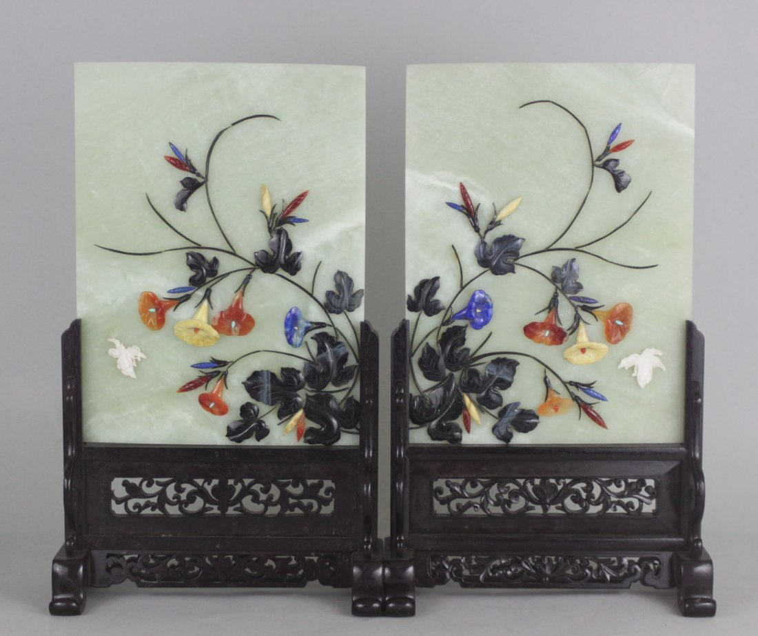 Chinese Pair Old serpentine Jade screens Birds & Roses