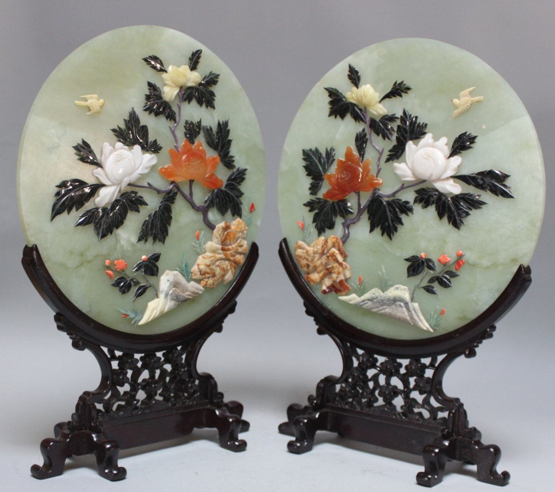 Chinese pair old serpentine jade screens Roses & Bird