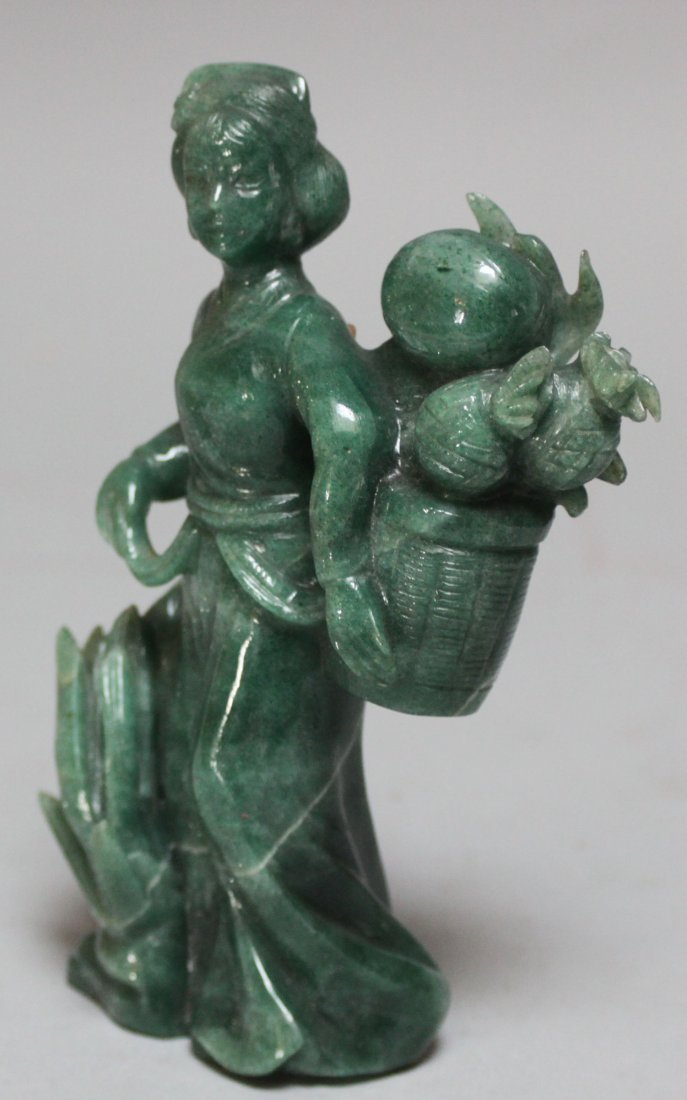 Antique Chinese He Nam Jade Fruit Basket Lady Figure