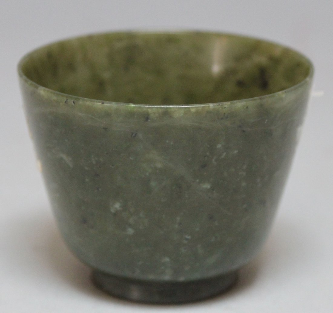 Antique Chinese Spinach Green Carved jade bowl