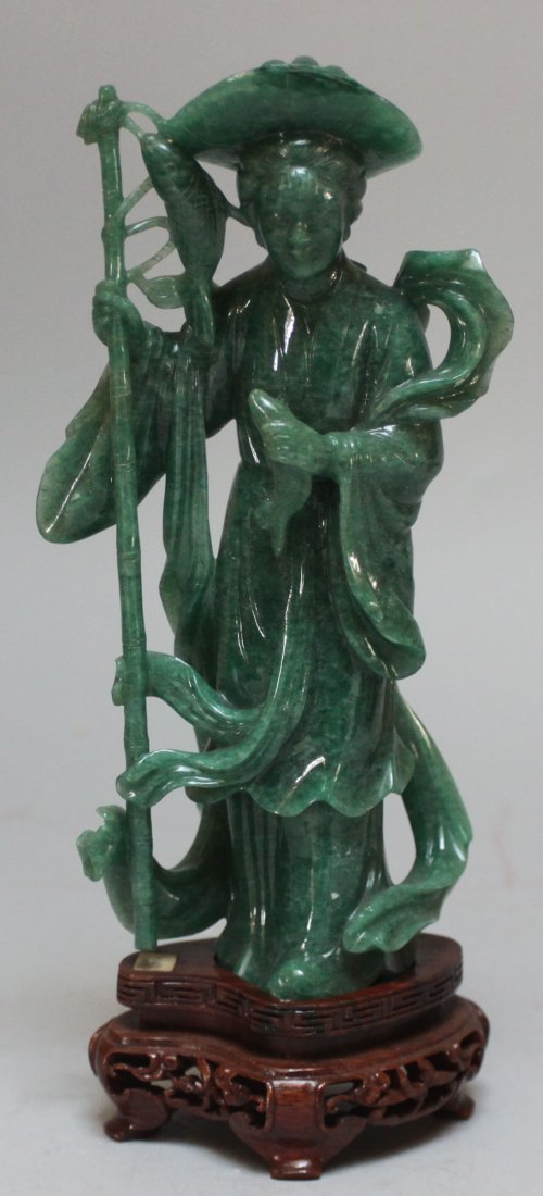 Antique Chinese He Nan jade fisherman lady figurine