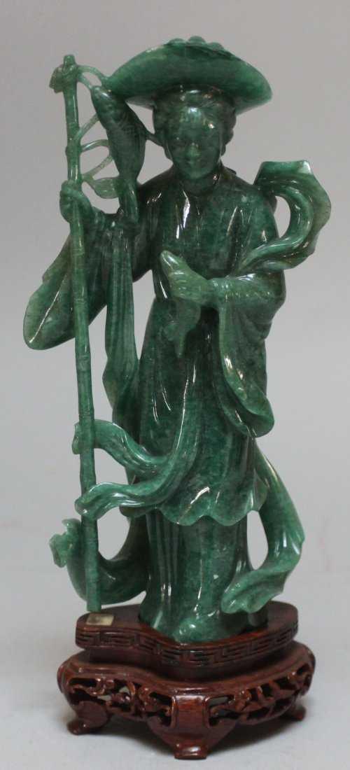 Antique Chinese He Nan Jade Fisherman Lady Figurine