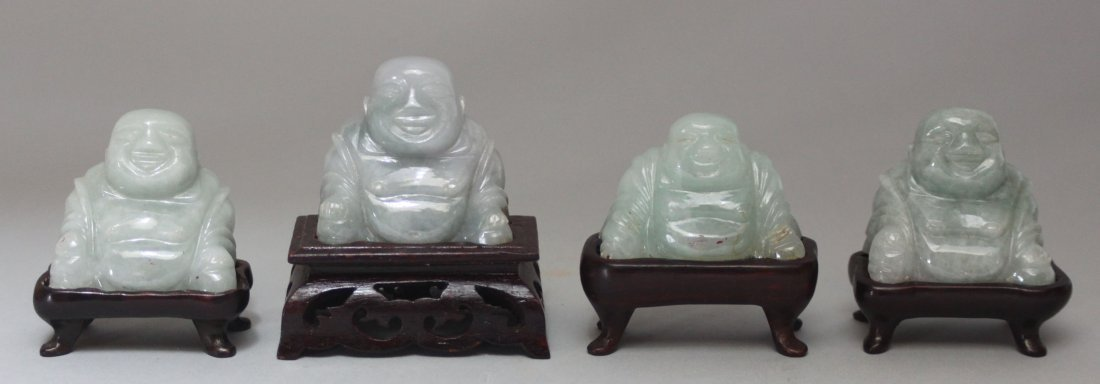 Set of FOUR Antique Burmese Jade Buddha Figures