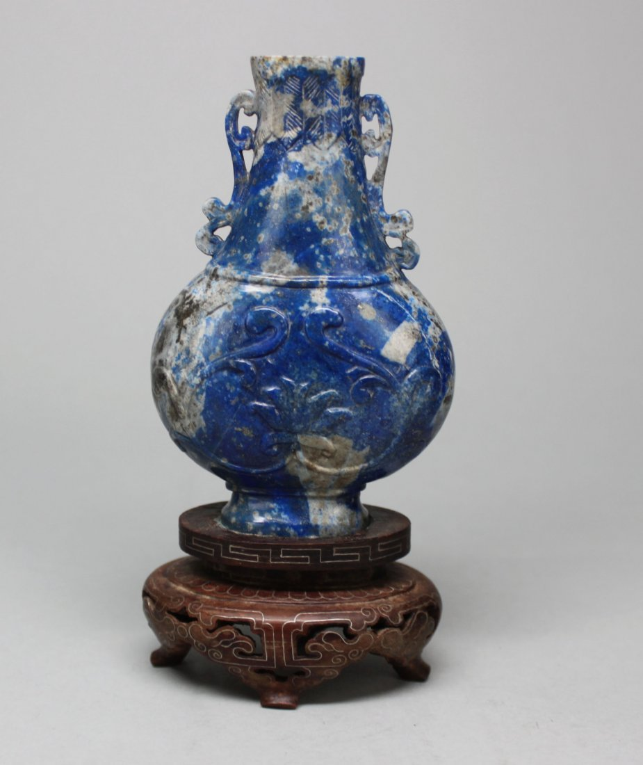 Antique Chinese Carved Lapis Lidded vase