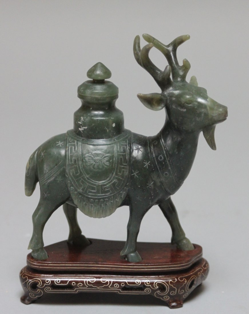 Chinese Antique carved Green jade deer vase