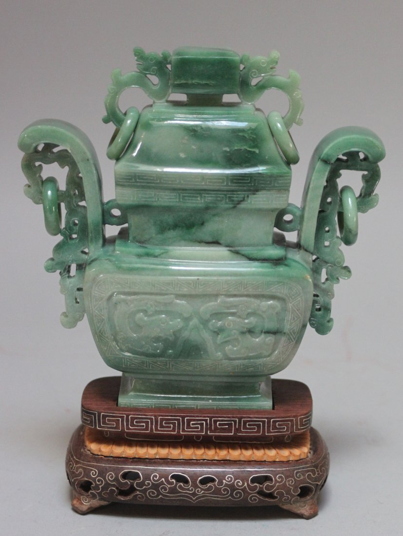 Chinese Antique Carved He Nan jade Lidded vase