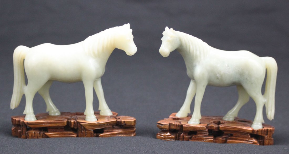 Antique Chinese pair white carved jade standing horses