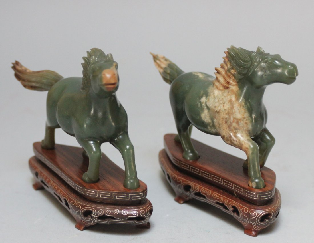 Antique Chinese pair green jade horses Galloping