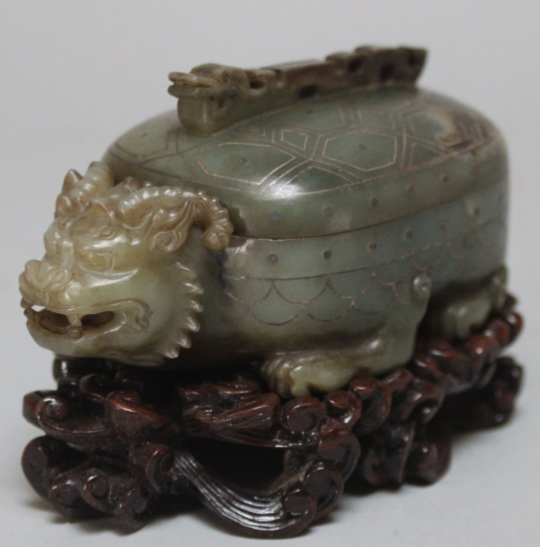 Old Chinese Carved jade turtle Beast ink box