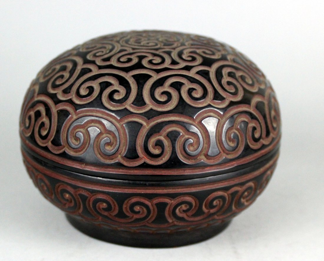 Chinese Antique Etched Cinnabar Round Lidded box