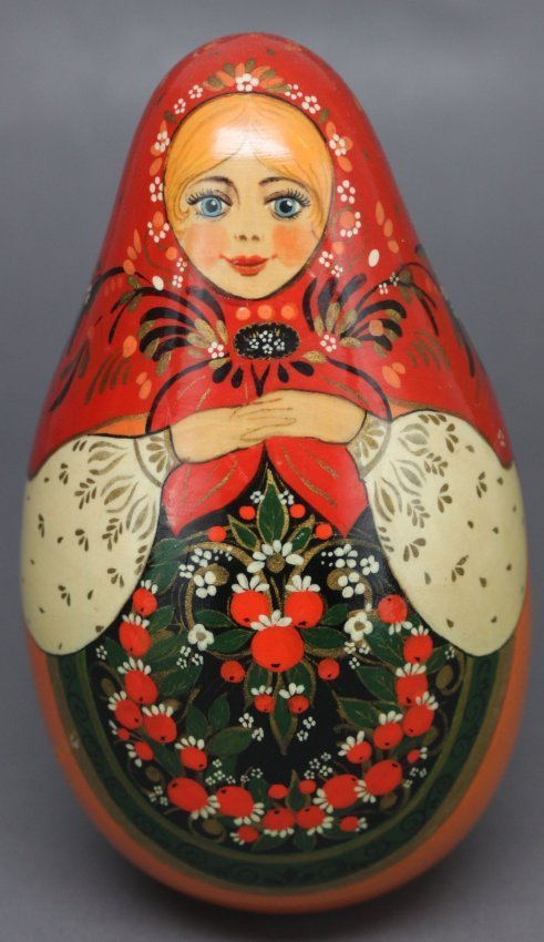Russian Painted Gong Bell Woman Peasant