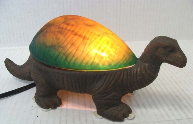 Dinosaur Lamp Art Glass Top w Bronze Base