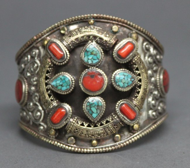 Nepal Tibetan Nickel Silver Bracelet Coral & Turquoise