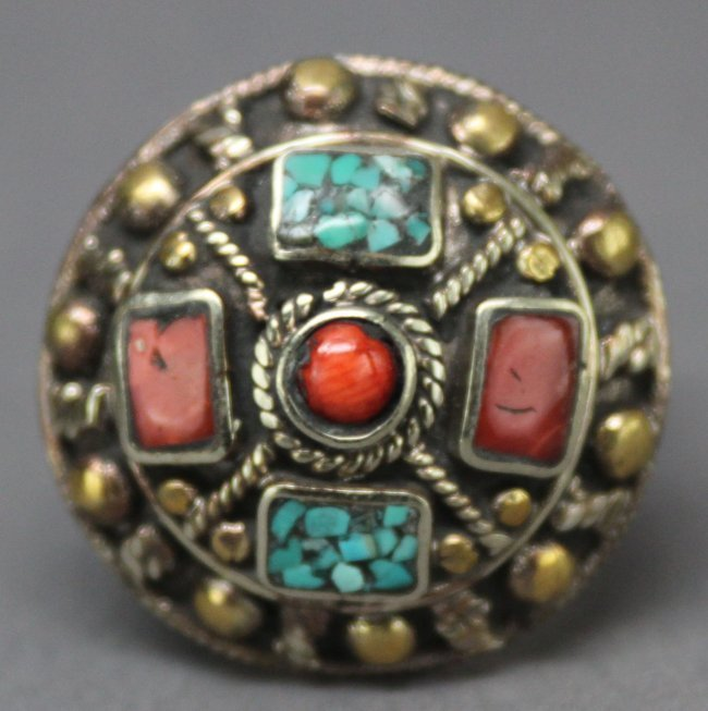 Nepal Tibet Silver Ring Inlaid Turquoise & Coral