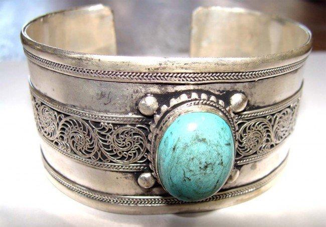 Nepal Nickel Silver Metal Cuff Bracelet Large Turquoise