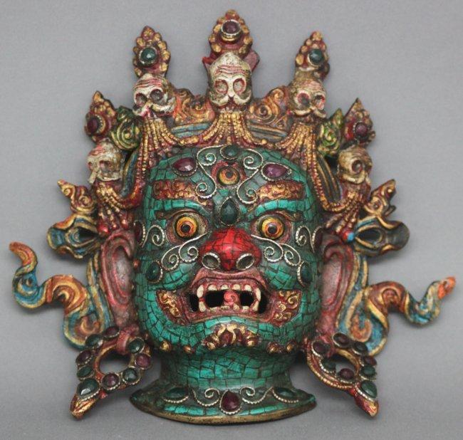 Tibetan Bronze Bhairava Mask Inlaid with Rubies