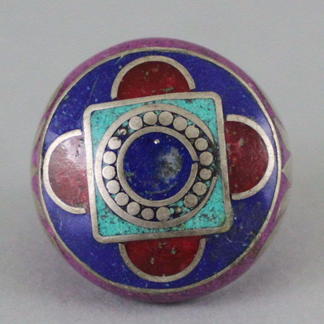 Nepal Tibet Silver Ring Inlaid Turquoise Lapis & Coral