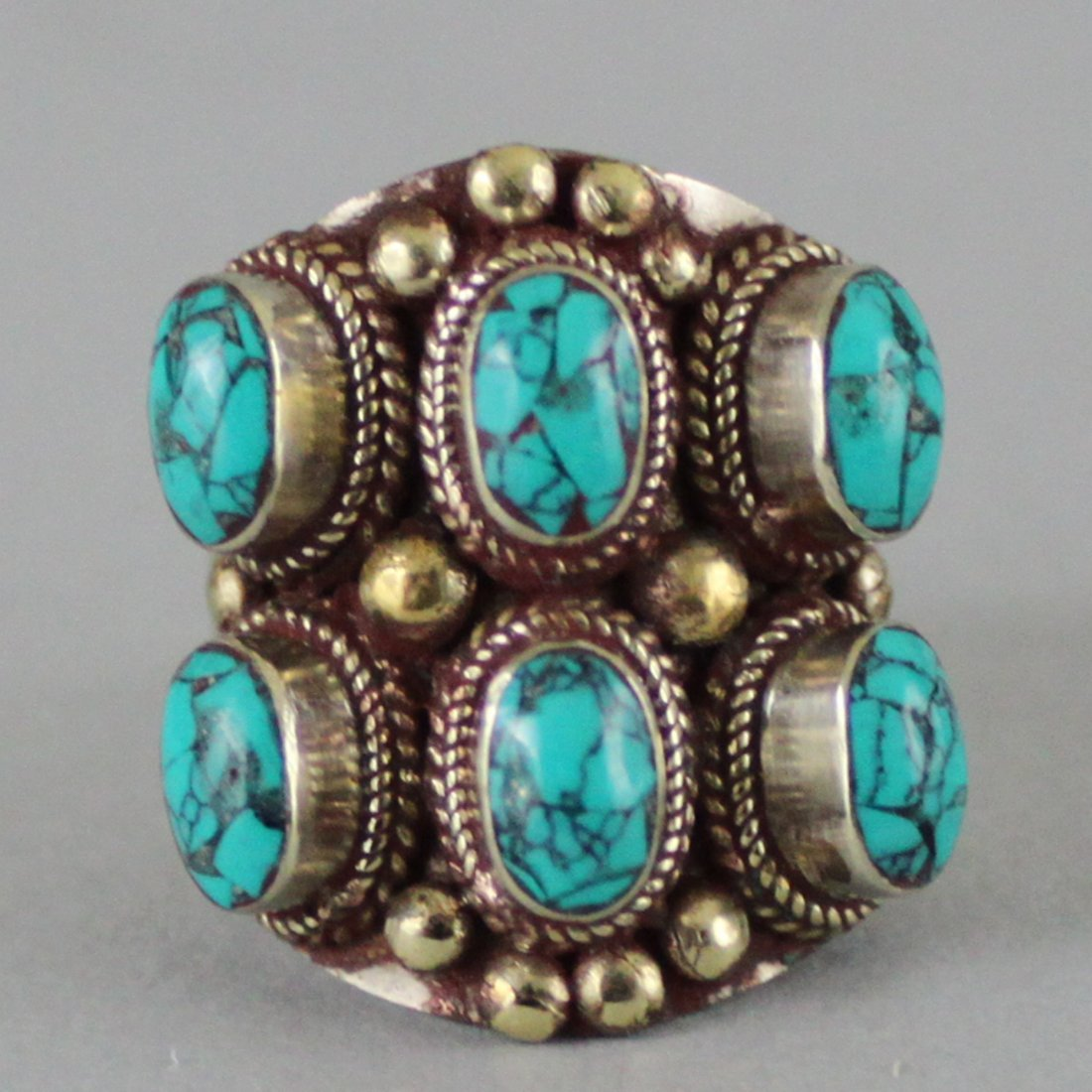 Nepal Tibet Ring Inlaid Turquoise & Coral