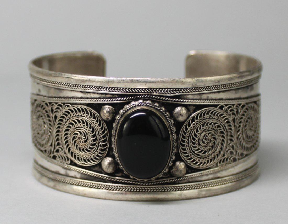 Tibetan Nickel Silver Bangle Bracelet Onyx Cabachon