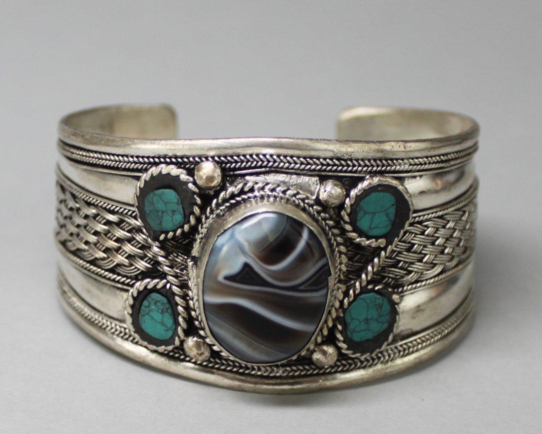 Tibetan Nickel Silver Bangle Bracelet Five Stones
