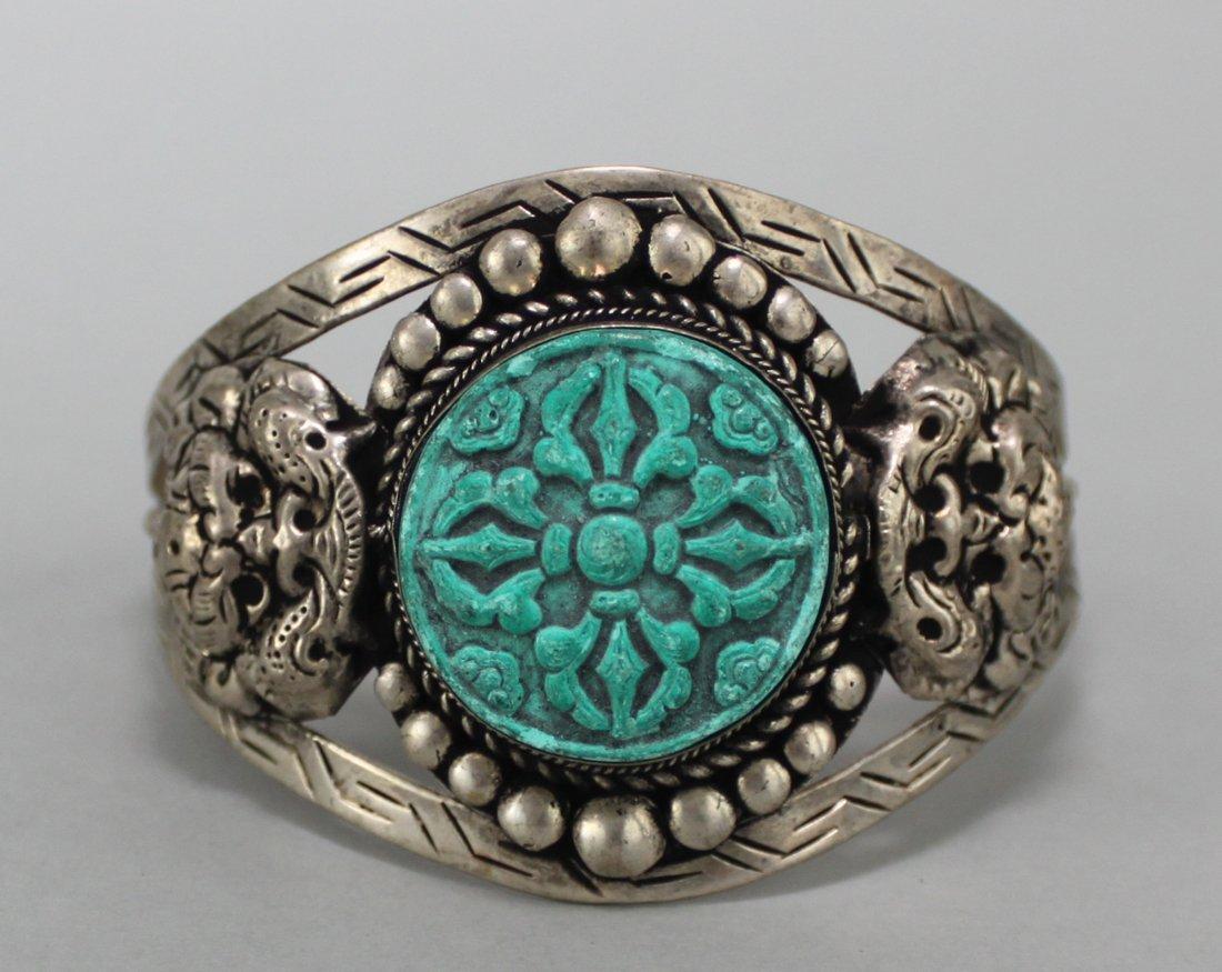 Tibetan Nickel Silver Bangle Bracelet Turquoise Relief