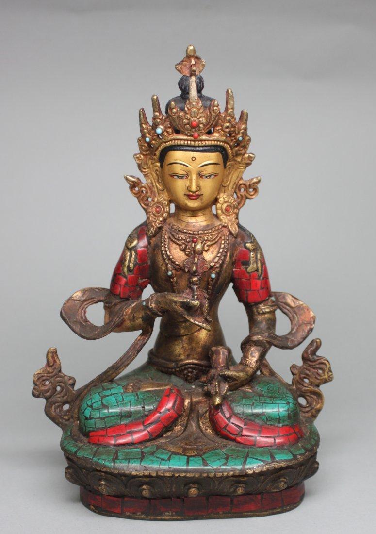 Bodhi Shatva Turquoise & Coral Bronze Figure