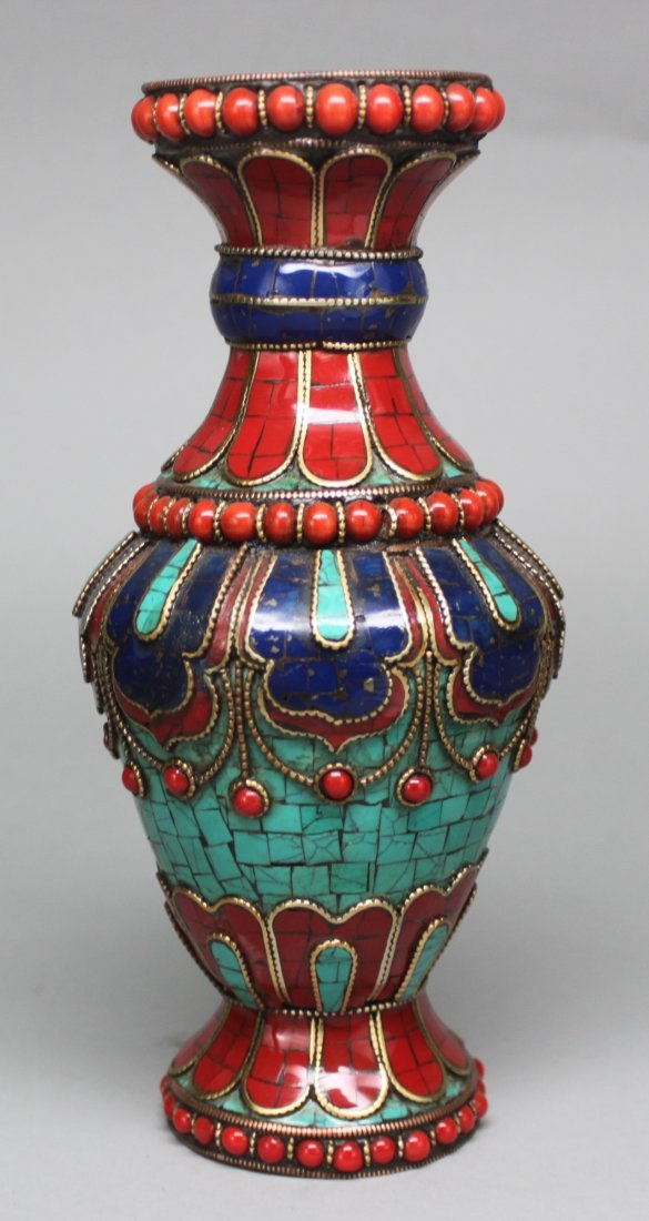 Ornate Nepal Vase with Turquoise Coral & lapis inlay