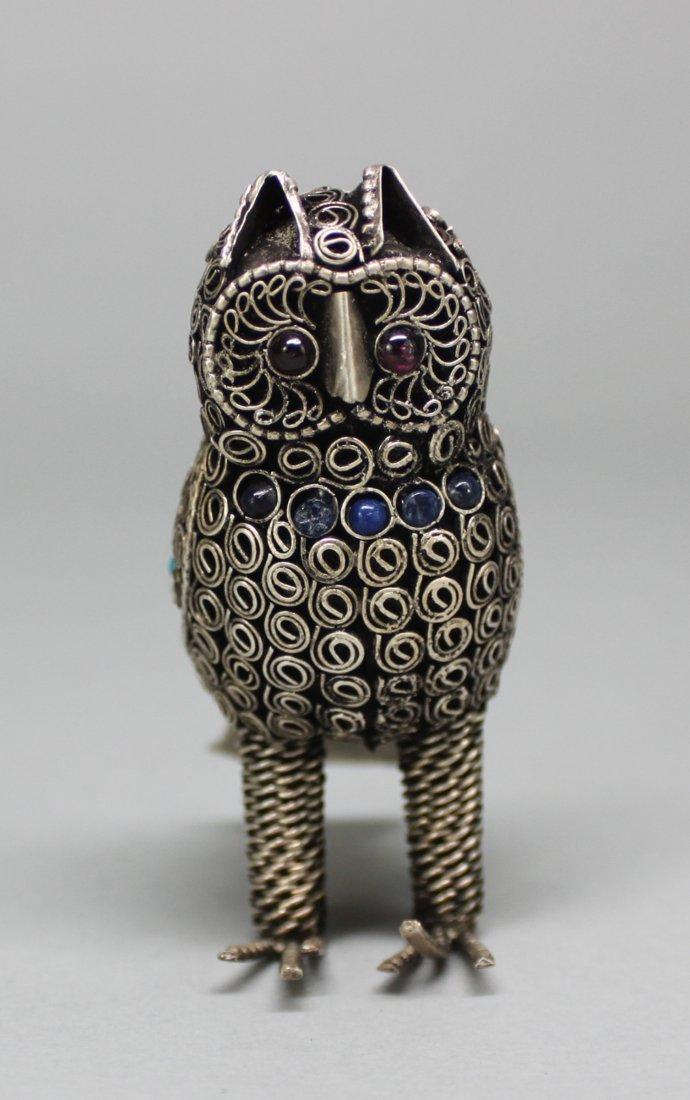 Nepal Filigree Owl Figurine Turquoise & Coral Beaded