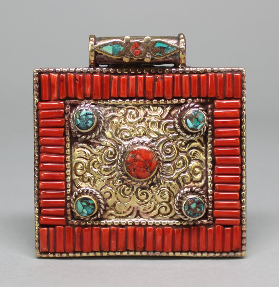 Nepal Silver Gau Pendant Inlaid with Coral