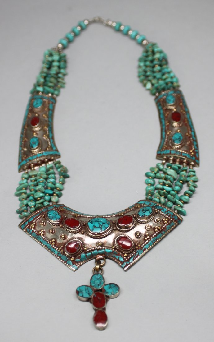 Nepal Ornate Necklace Breastplate w Turquoise Nuggets