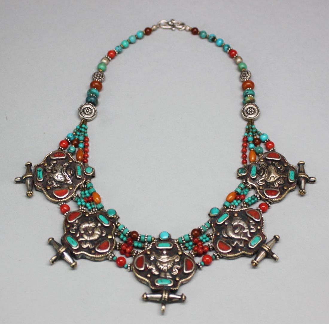 Elaborate Nepal Silver Necklace w 5 Gau Amulets