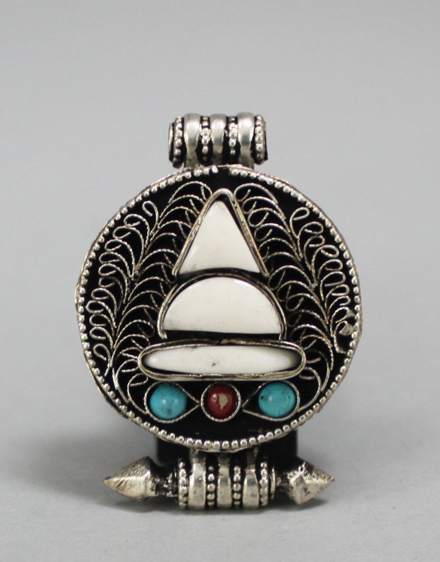 Nepal Filigree Silver Gau Pendant w Turquoise Beads