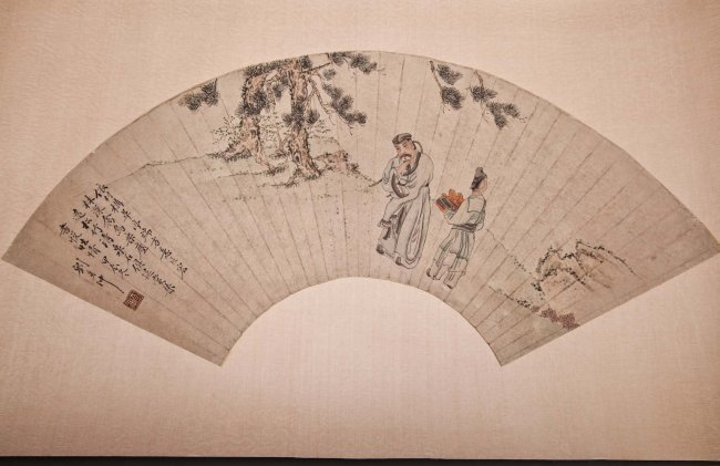 ANTIQUE CHINESE WATERCOLOR PAINTED FAN
