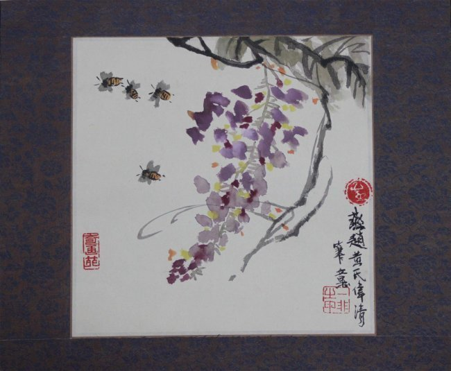 Chinese Pen & Ink Bees & Flowers Color Scroll Painting