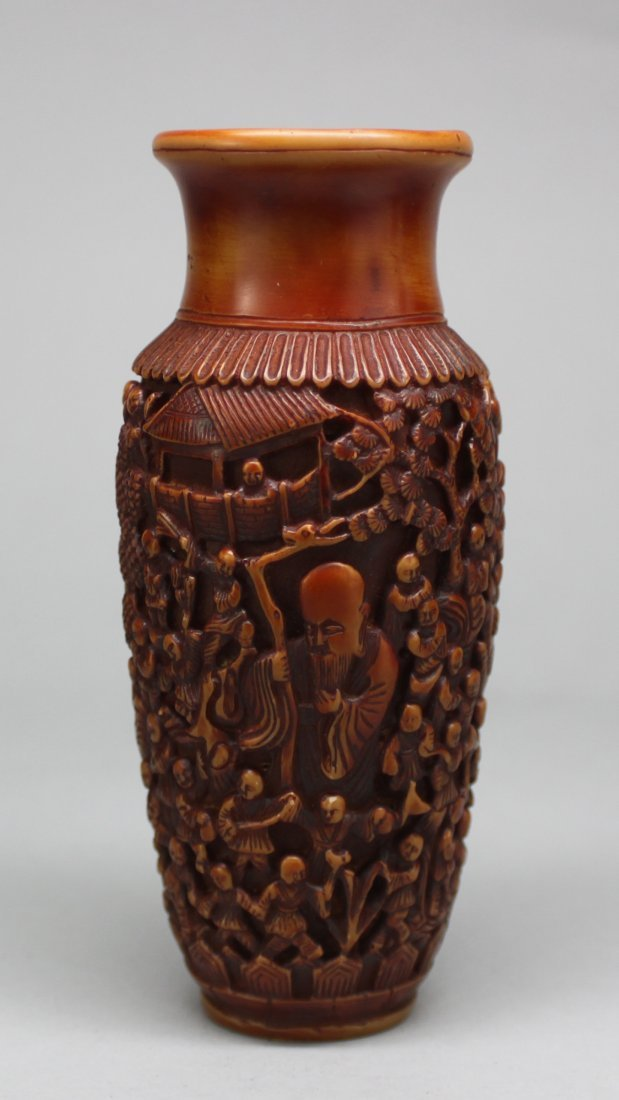 Chinese Carved Camel Bone vase many Children Relief