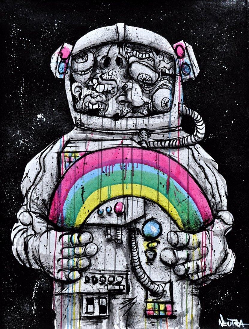 "Max Neutra Acrylic on canvas ""Space Man"""