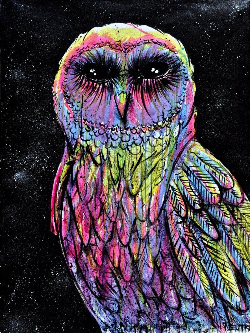 "Max Neutra Acrylic on canvas ""Space Owl"""