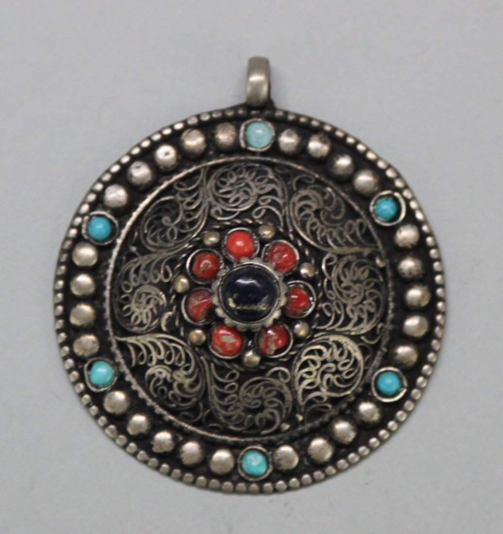 Nepal Turquoise & Coral Silver Pendant